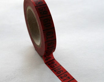 Washi Tape - 10mm - Black Vintage Numbers on Deep Red 10mm Roll - Deco Paper Tape  No. 316