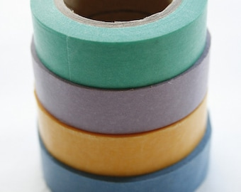 Washi Tape Set - 15mm - Combination BE - Pastel Solids - Four Rolls Washi Tape  #1, 4, 8, 26