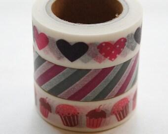 Washi Tape Set - 15mm - Combination BI - Pink Purple Hearts Cupcakes - Three Rolls Washi Tape 150/258/264