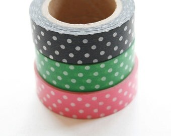 Washi Tape Set - 15mm - Combination BP - Polka Dots Pink Green Black - Three Rolls Washi Tape no. 175/171174