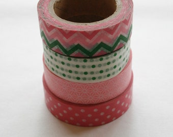 Washi Tape Set - 15mm - Combination BR - Pink Green White - Four Rolls Washi Tape no. 711/143/346/185