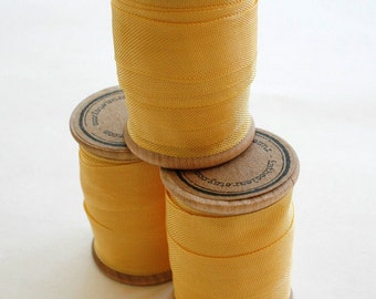 Rayon Binding Tape - 1/2 Inch Wide - 10 Yds Antique Gold on Wooden Spool - Packaging and Gift Ribbon