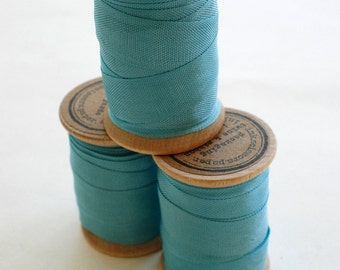 Rayon Binding Tape - 1/2 Inch Wide - 10 Yds Elegant Peacock on Wooden Spool - Packaging and Gift Ribbon