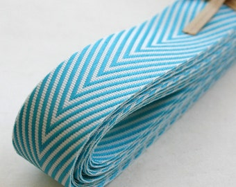 Chevron Twill Herringbone Ribbon- END CUT - Aqua and White 3/4 Inch Width - Packaging and Gift Ribbon