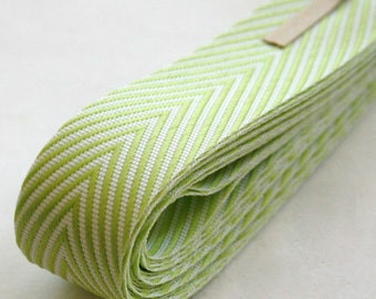 Chevron Twill Herringbone Ribbon - Lime Green and White 3/4 Inch Width - Packaging and Gift Ribbon