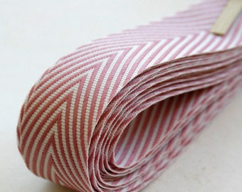 Chevron Twill Herringbone Ribbon - Lavender and White 3/4 Inch Width - Packaging and Gift Ribbon