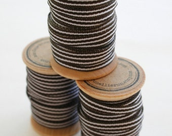 Brown and White Striped Grosgrain Ribbon - 10 Yards on Wooden Spool - 5mm 3/16 Inch Width