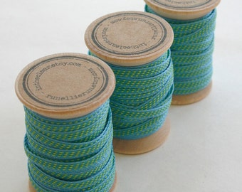 Aqua and Lime Stitched Woven Ribbon - 10 Yards on Wooden Spool - 5mm 3/16 Inch Width