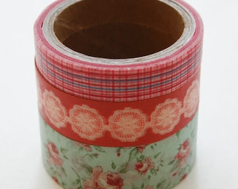 Washi Tape Set - 15mm - Combination CB - Vintage Style Floral and Plaid - Three Rolls Washi Tape No. 221B 222 223