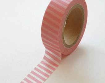 Washi Tape - 15mm - White Diagonal Lines on Light Pink - Deco Paper Tape No. 154