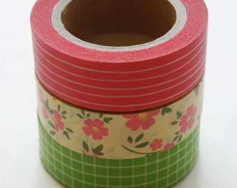 Washi Tape Set - 15mm - Combination CD - Pink and Green Floral - Three Rolls Washi Tape No. 247 / 57 / 227