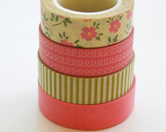 Washi Tape Set - 15mm - Combination CM - Pink Light Olive and Yellow - Four Rolls Washi Tape 13b/88/104/227