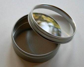 Single Sample - Round Window Tins 2.71 x .93 Inch Size - Clear Top - Perfect for Wedding Favors, Spices and Retail Packaging