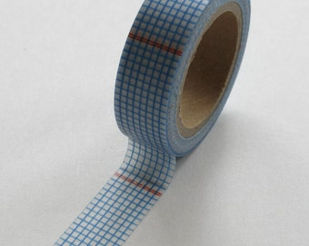 Washi Tape - 15mm - Deep Blue and Red Graph Paper Grid Design on White - Deco Paper Tape No. 52