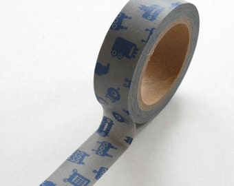 Washi Tape - 15mm - Blue Robots on Grey - Deco Paper Tape No. 328