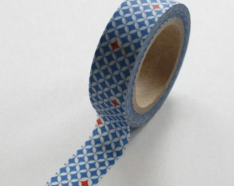 Washi Tape - 15mm - Medium Blue Red and White Geometric Pattern - Deco Paper Tape No. 275