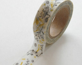 Washi Tape - 15mm - Yellow and Grey Floral and Heart Design on White - Deco Paper Tape No. 235