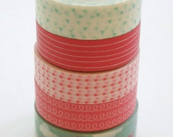 Washi Tape Set - 15mm - Combination CX - Pink and Aqua - Five Rolls Washi Tape No. 195 / 197 / 88 / 292 / 247