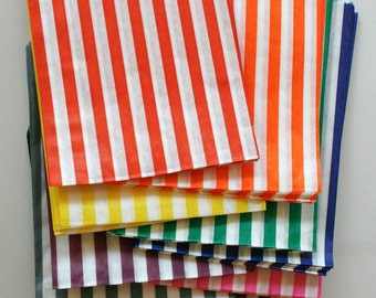 Set of 150 - Traditional Sweet Shop Candy Stripe Paper Bag Rainbow Variety - All Ten Colors - 7 x 9 - New Style