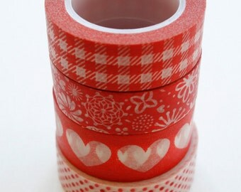 Washi Tape Set - 15mm - Combination M - Red Folk Art - Four Rolls Washi Tape 255/234/356/200