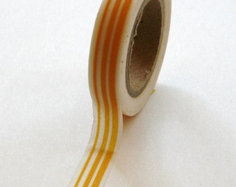 Washi Tape - 10mm - Mustard Yellow Irregular Stripe on White - Deco Paper Tape No. 244