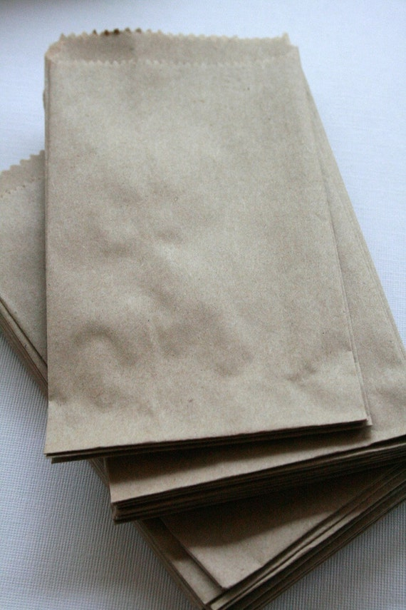 QTY 250 Extra Small Recycled Brown Paper Flat Merchandise Bags - 3 1/4 Inches x 5 1/4 Inches