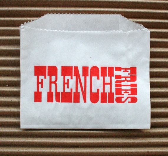 Vintage Style White French Fries Bags - White with Red - Flat Bags 4.5 x 3.5 Inches - set of 250