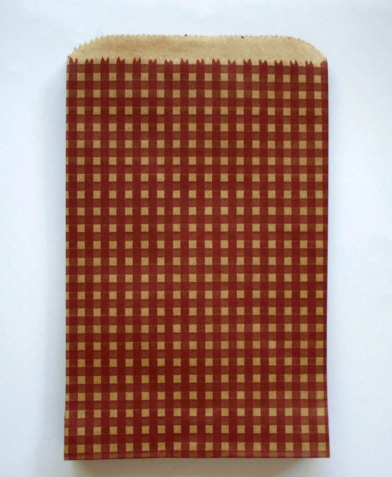 Set of 25 - Burgundy Gingham Flat Paper Merchandise Bags - 6.25 x 9.25 Inches - Gifts, Packaging, Retail