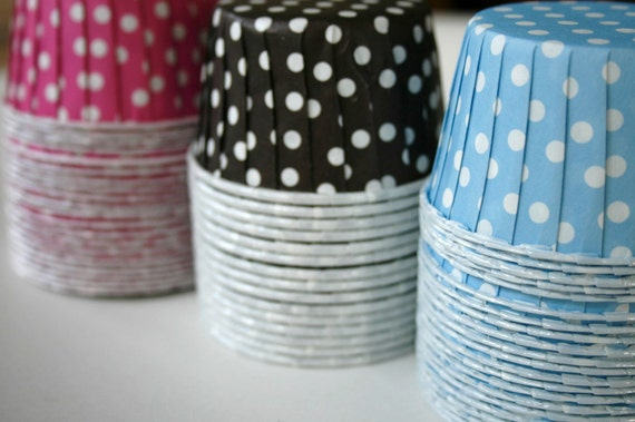 Polka Dot Nut or Portion Paper Baking Cups - Chocolate Brown and White - set of 24