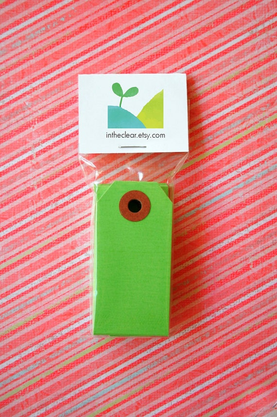 Mini Shipping Paper Tags - Sixteen Colors Available - 1.375 x 2.75 - Pack of 25 - Green