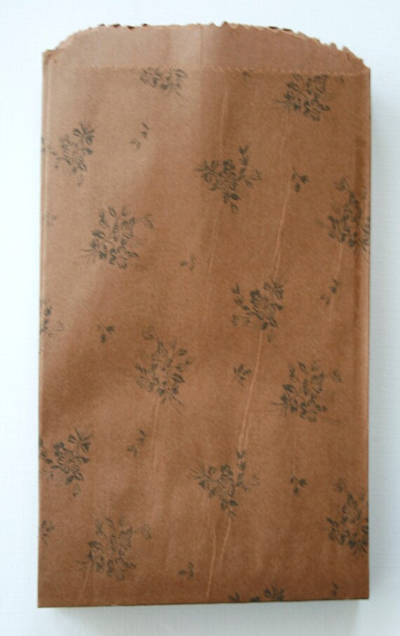 Set of 25 - Recycled - Floral Print Blotter Paper Bags - 5 x 8 - Milk Chocolate Floral