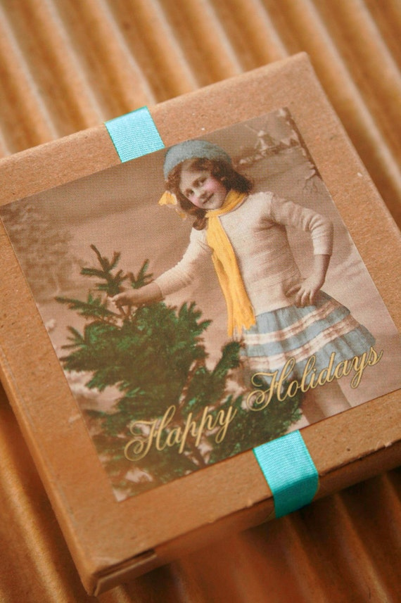 Set of  25 - Packaging and Gift Stickers - 2 x 2 Glossy - Vintage Style Girl with Christmas Tree Happy Holidays