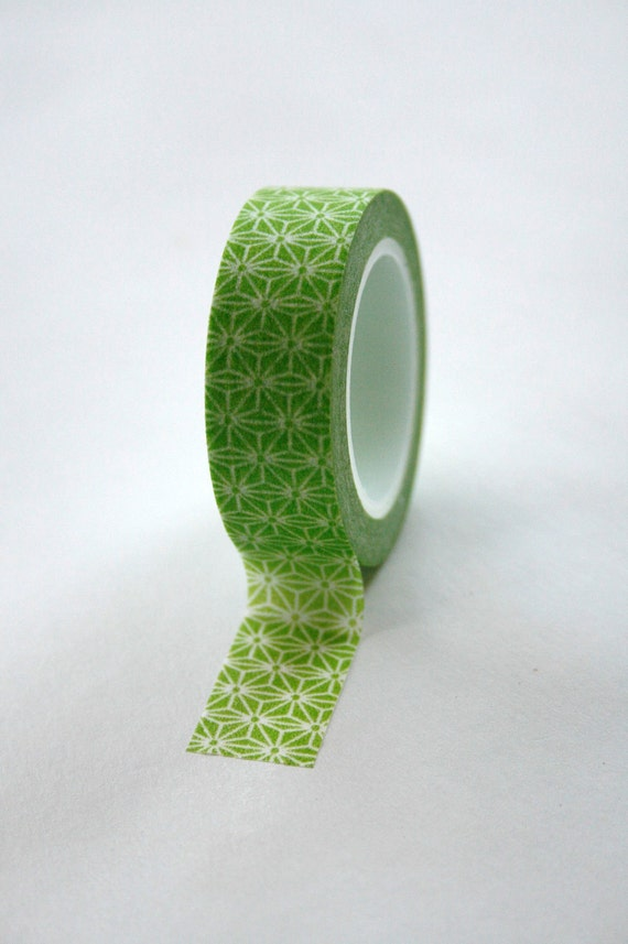 Washi tape 15mm green and white geometric pattern deco for Geometric washi tape designs