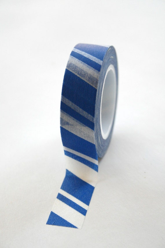 Washi Tape - 15mm - Blue and White Candy Cane Stripe - Deco Paper Tape No. 146