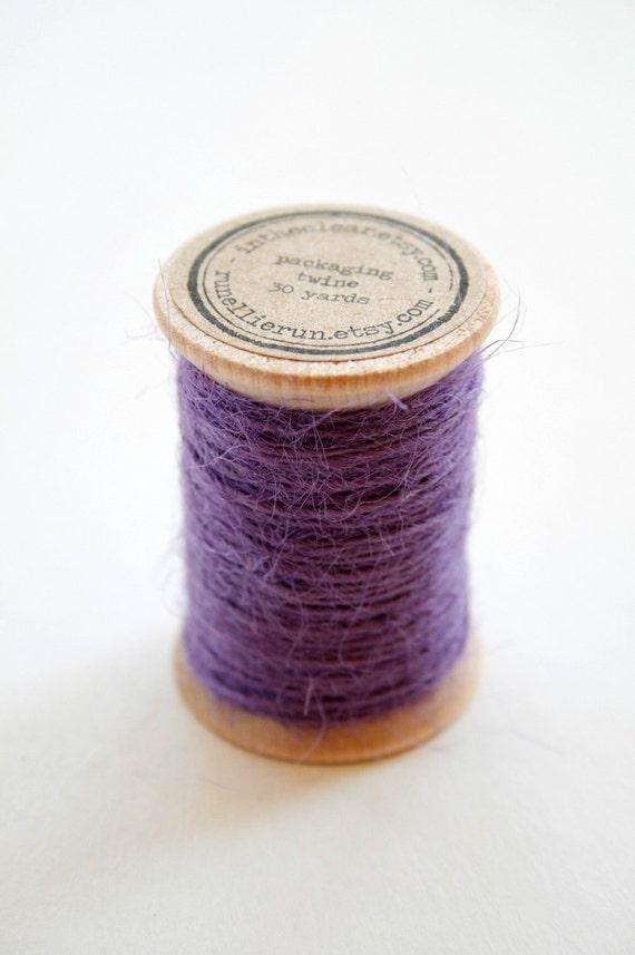 Burlap Twine - 30 Yards on Wooden Spool - Purple Color Jute