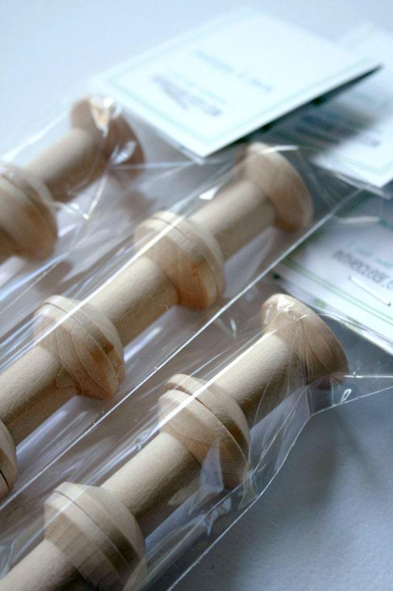 Small Wooden Spools - set of 12 - Natural Wood Thread Spools