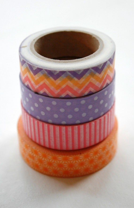 Washi Tape Set - 15mm - Combination AC - Spring Brights Variety - Four Rolls Washi Tape No. 131 160 103 349
