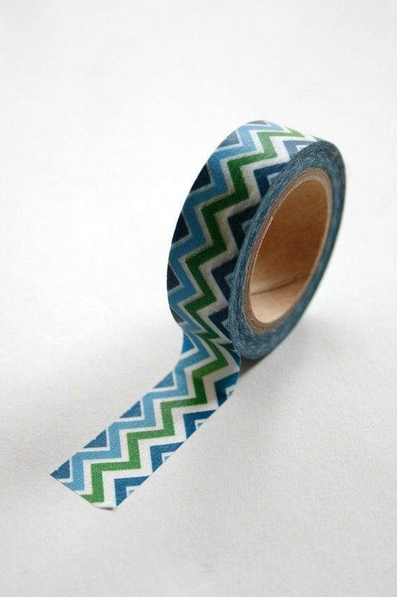 Washi Tape - 15mm - Multi Colored Blue Aqua Green Chevron Pattern - Deco Paper Tape No. 132