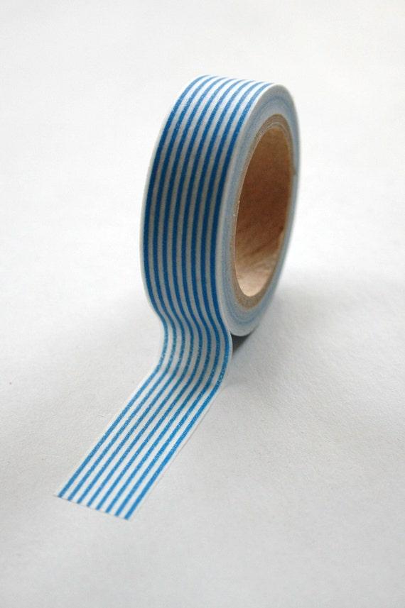 Washi Tape - 15mm - Blue Vertical Stripe Pattern - Deco Paper Tape No. 113