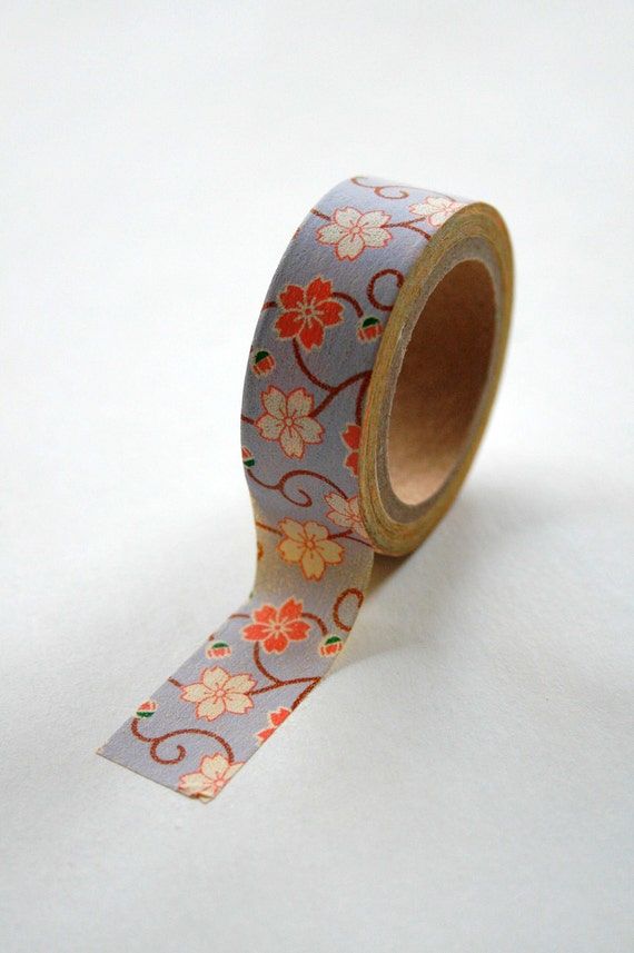 Washi Tape - 15mm - Mango and Lavender Floral - Deco Masking Tape No. 229