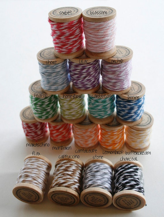 Baker's Twine on Wooden Spools - 5 Yards Each- 4 Ply Cotton Made in USA - Eighteen Color Set