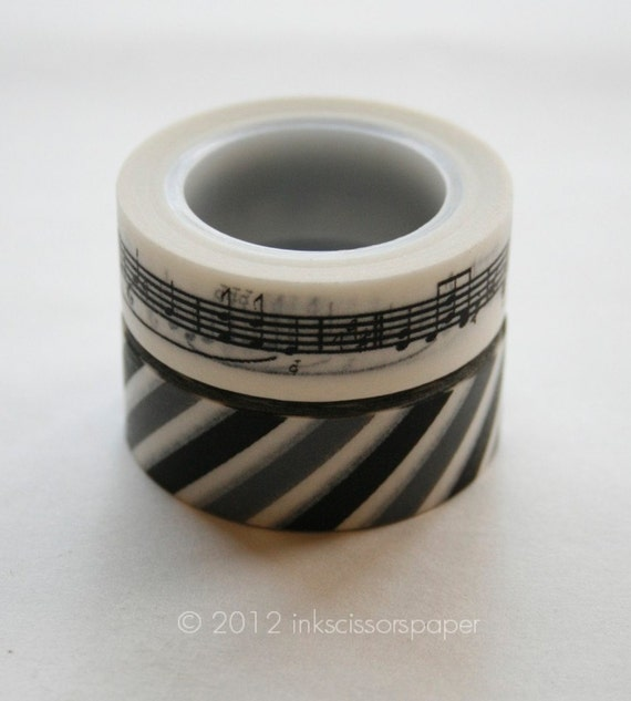 Washi Tape Set - 15mm - Combination BN - Black Musical Notes and Airmail Black Grey - Deco Paper Tape Two Rolls No. 149 / 319