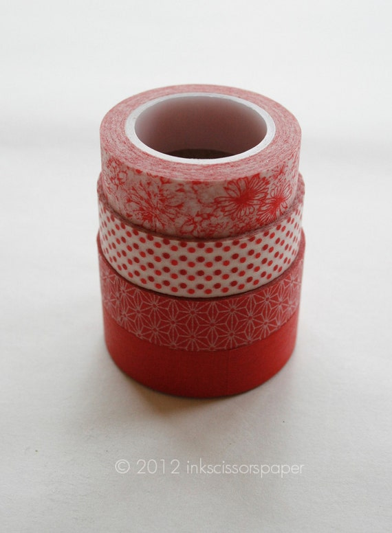 Washi Tape Set - 15mm - Combination BZ - Red Solid and Patterns - Four Rolls Washi Tape 210, 203, 27, 342