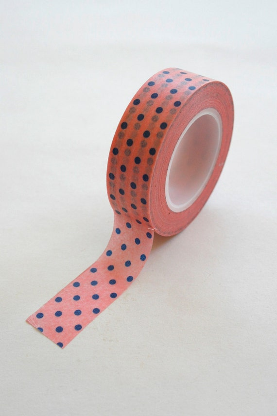Washi Tape - 15mm - Blue Polka Dot on Bubble Gum Pink - Deco Paper Tape No. 178