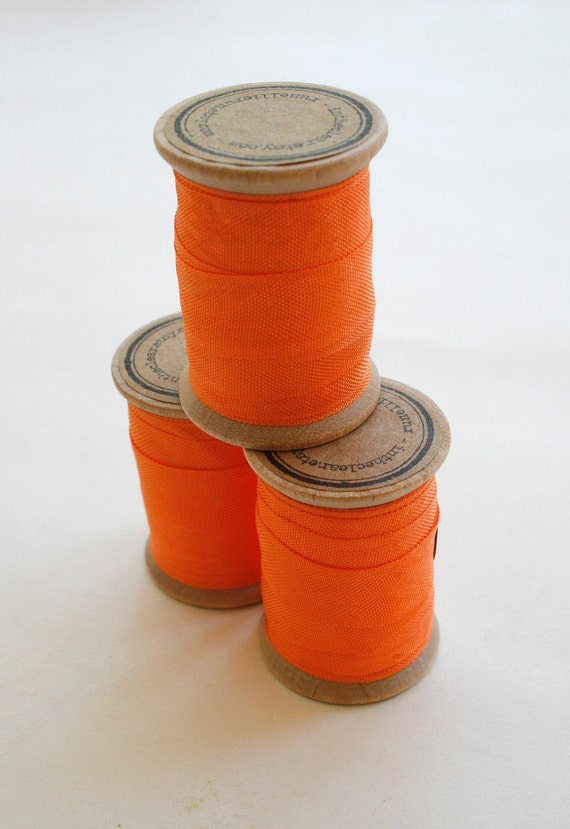 Rayon Binding Tape - 1/2 Inch Wide - 10 Yds Orange on Wooden Spool - Packaging and Gift Ribbon