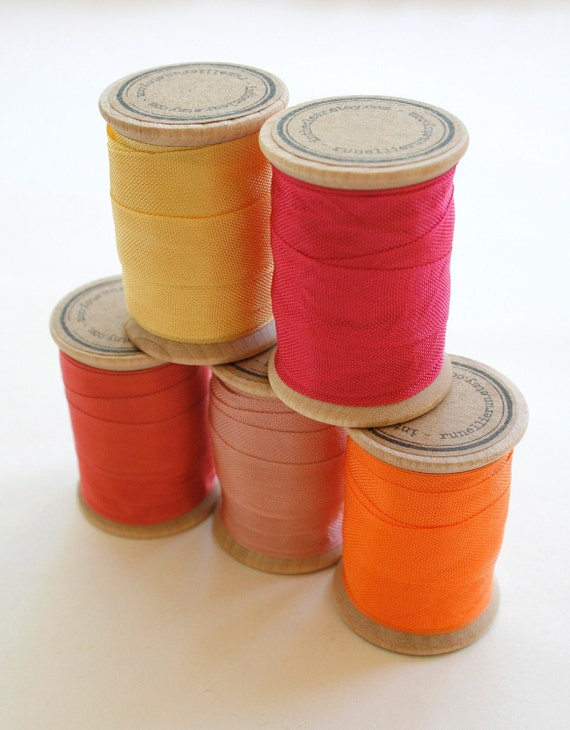 Rayon Binding Tape Color Pack - 10 Yds Each Five Colors - 50 Yards on Wooden Spools - Packaging and Gift Ribbon