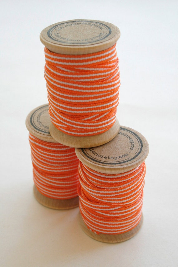 Orange and White Striped Grosgrain Ribbon - 10 Yards on Wooden Spool - 5mm 3/16 Inch Width