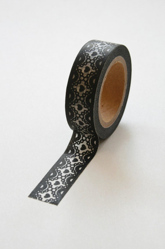 Washi Tape - 15mm - Black Lace Design on White - Deco Paper Tape No. 291