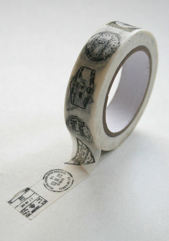 Washi Tape - 15mm - Postmark Black on White - Postage - Deco Paper Tape No. 305