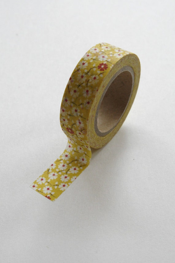 Washi Tape - 15mm - Red and White Floral Pattern on Yellow - Deco Paper Tape No. 237